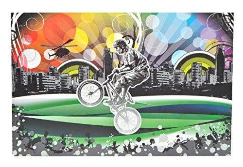 Preisvergleich Produktbild Unbekannt XL Sticker 25,5 cm * 39 cm kürzbar - Biker BMX Fahrrad Sport Skyline bunt - Aufkleber Folie Glimmer Skin