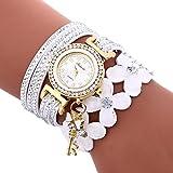 Sonnena Damen Armbanduhren, Mode Glockenspiel Diamant Armbanduhr Damenuhr Klassik Lederarmband Quarzuhr Armband Handgelenk Uhr Geburtstag Geschenk (Weiß)