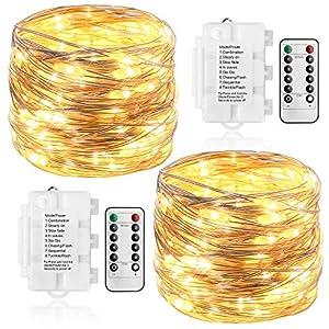 KooPower 2 Stk 100er LED Lichterkette Batterie mit Fernbedienung & Timer, 8 Modi IP65 Wasserdicht Silberdraht Lichterkette für Weihnacht,Hochzeit,Party,Garten.