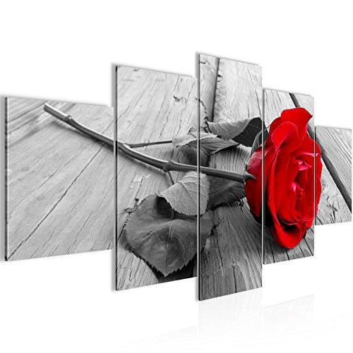 Runa Art Bilder Blumen Rose Wandbild 200 x 100 cm Vlies - Leinwand Bild XXL Format Wandbilder Wohnzimmer Wohnung Deko Kunstdrucke Rot 5 Teilig - Made in Germany - Fertig Zum Aufhängen 204451a