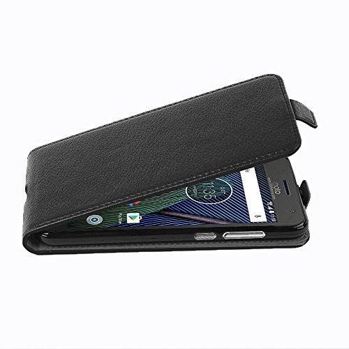 Cadorabo Hülle für Motorola Moto G5 Plus - Hülle in Oxid SCHWARZ - Handyhülle aus Strukturiertem Kunstleder im Flip Design - Case Cover Schutzhülle Etui Tasche