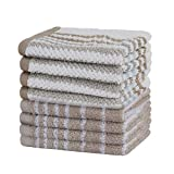 #10: Urban Hues 500 GSM Cotton Face Towels, Beige & White - Set of 8 (12 Inch x 12 Inch)