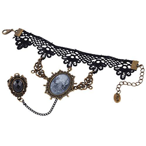 Yazilind Black Lace Armbänder mit Ring Lolita Girl Portrait Acryl Perlen Anhänger Metall- Halloween -Hochzeitsfest für Frauen
