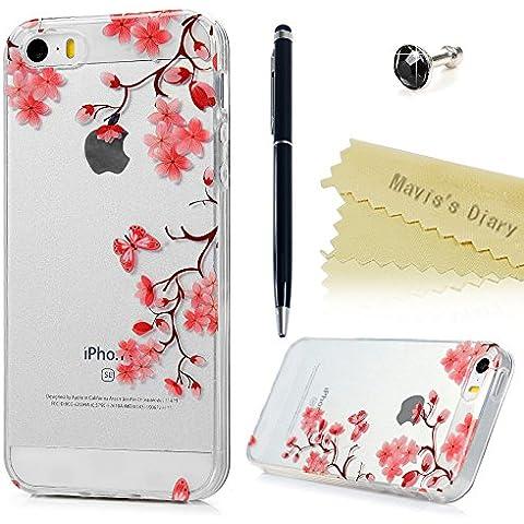 Funda iPhone 5s,iPhone 5 SE Cover Silicona Gel TPU Ultra Slim Bumper Shock-Absorción - Mavis's Diary Carcasa Suave Case Parachoques Choque Absorción y Anti-Arañazos - flor