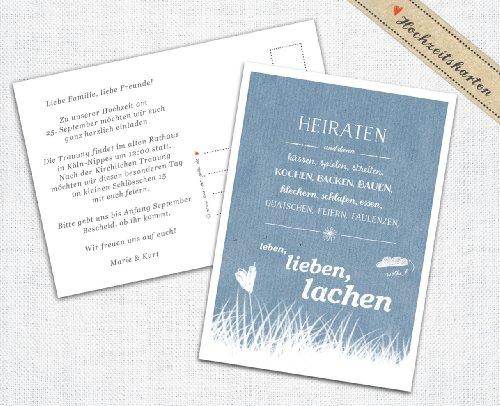 50 Hochzeitseinladungen inkl. Druckservice - Heiraten und dann... - BLAU mit individuellem Text auf der Rückseite Hochzeitskarten Einladungskarten Recyclingpapier