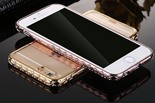 "iPhone 6Plus/6sPlus 5.5""(NON iPhone 6/6s 4.7"") Couverture, CLTPY Crystal Clear Shiny Scintillement Cadre étincelant Housse TPU Silicone Clear Transparente Ultra Mince Premium Flexible Coquille pour iP Rose Or Crystal"