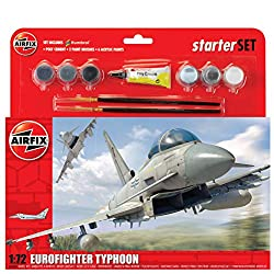 Airfix 1:72 Eurofighter Typhoon Scale Military Aircraft Category 3 Gift Set with Paint Glue and Brushes