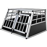 Doppel Hundebox aus Aluminium für den Transport kleiner Hunde Auto Gitterbox mit geneigter Vorderseite für PKW Kofferraum