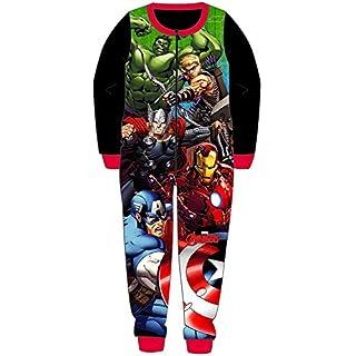 Boys Fleece Character Onesie Pyjamas Childrens All in One PJ's Size UK 1-10 Years (5-6 Years, Avengers - 5C)