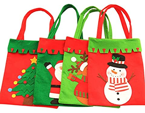 Sac Fourre Tout de Noël, Outgeek 4Pcs Santa Gift Bag Décorations de Noël Candy Bag Party Favors