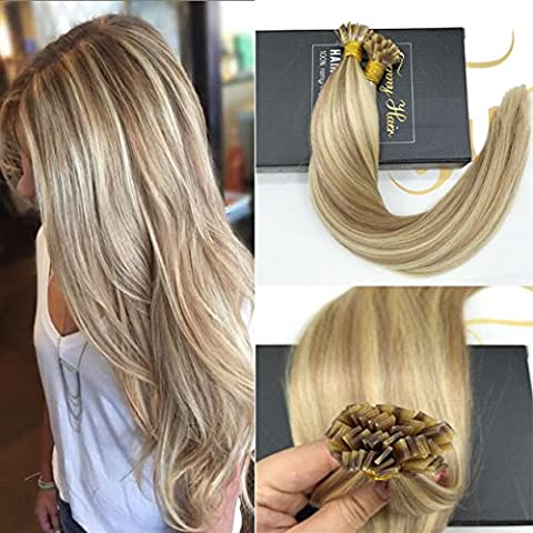 Sunny 18inch 1g/Strand Flat Tip Fusion Hair Extensions Brazilian Remy Pre-Bonded Keratin Human Hair Extensions Balayage Highlights Brown with Blonde 50g/pack