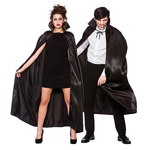 Schwarze Deluxe Satin Umhang mit Kragen Zubehör für Superheld Vampir Dracula (Vampir Cape Kragen Mit)