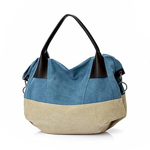 Wewod Canvas Große Damenhandtaschen Shopping-tasche Umhängetasche--57*21*43 cm/Stripe Design Blau