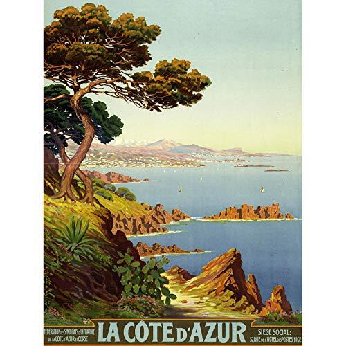 De Tanguy Cote D'azur France Travel Advert Art Print Canvas Premium Wall Decor Poster Mural Frankreich Reise Werbung Wand Deko - Canvas Print Art