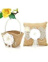 Wildlead - Juego de 2 cojines de arpillera para boda, arpillera y flores, para decoración de bodas