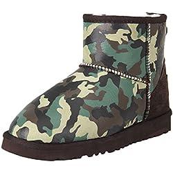 Shenduo Zapatos Invierno - Botas de Nieve de piel oveja con lana interno antideslizantes para Mujer DV5854 (38, Verde)