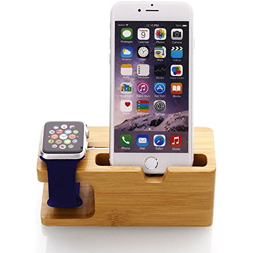 Digit.Tail Support Téléphone de Bois Station Cradle avec Montre Support & Dock de Charge pour Apple Watch, iPhone X/8/8 Plus/7/7 Plus, Galaxy S9/S9 Plus/S8/S8 Plus et Smartphones
