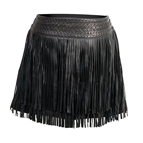 Zerimar Faldas de Cuero Mujer - Falda Mujer - Falda Mujer Casual - Falda Mujer Piel - Falda Mujer Flecos - Color Negro Talla XL
