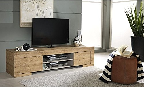 Lc spa milano, mobile tv con 2 ante e 1 ripiano in legno, 190 x 45 x 51 cm, quercia cleaf miele, a imitazione del legno