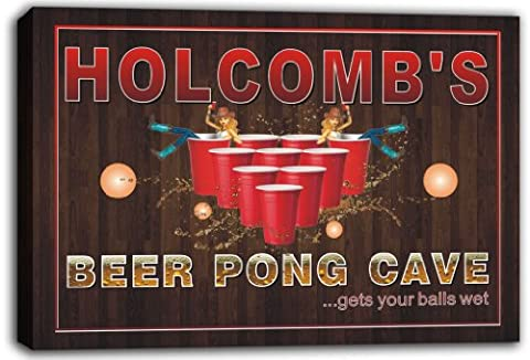 scqr1-1959 HOLCOMB'S Beer Pong Cave Bar Game Stretched Canvas Print Sign