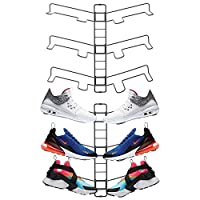 mDesign Shoe Rack - Adjustable Shoe Storage for 3 Pairs of Trainers, Sports Shoes and More - Space-Saving Wall-Mounted Shoe Rack