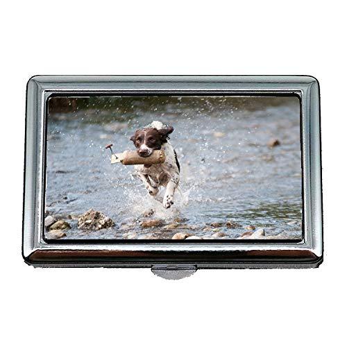Portasigarette/scatola, cane movimento dell'acqua Joy, porta biglietti da visita in acciaio inossidabile
