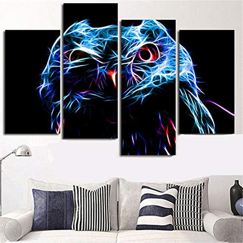 MOXGO leinwand gemälde 4 Panels Pop Art Painting Calligraphy Wall Canvas Decorative Picture Animal Fractals Owl Rainbow Color Poster Prints Home Decor - Owl Giclée Print