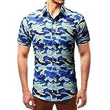 DOGZI Camisas para Hombre - Manga Corta Estampado de Camuflaje Casual Slim Fit botón Militar Camiseta