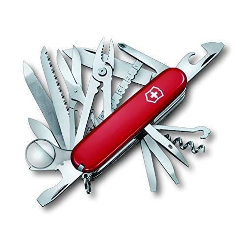 51rUPKuAFiL. SS500  - Victorinox 1.6795.LB1 Swiss Champ with Leather Pouch Pocket Tool, Red (Blister), Size