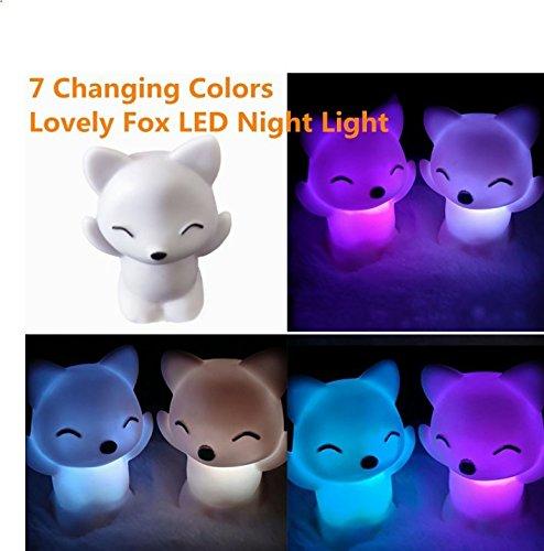 SSforiesun Lampe de Nuit à LED 7 Couleurs Transformable Lumière Décorative en Forme de Renard Cadeau pour Enfants