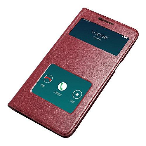 R7 Hülle,EVERGREENBUYING - Flip Case Etui Handyhülle Für R7t mit Sichtfenster - Aufklappbare Echtes Leder Schutzhülle im Flip Cover Style für OPPO R7 Braun Rot