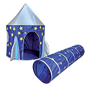 kids kingdom pop up space rocket play tent tunnel by spirit of air toys games. Black Bedroom Furniture Sets. Home Design Ideas