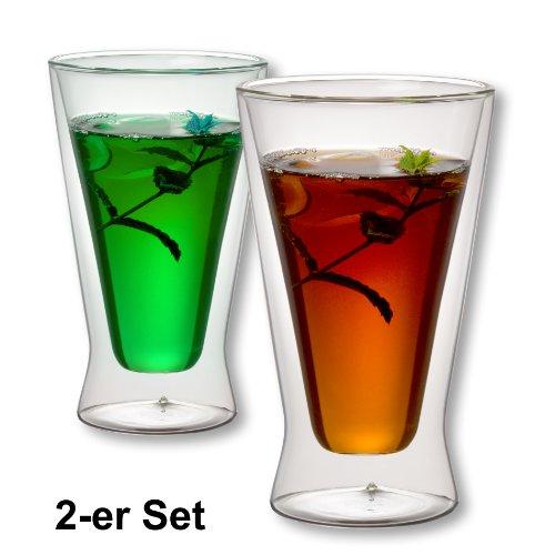 1aTTack.de 833284 Trink/Thermo-Glas 400 ml XXL doppelwandig Modell Xavier für Heiß- und Kaltgetränke, 2-Stück