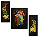 #6: 3 PC SET OF RADHA KRISHNA PAINTINGS WITHOUT GLASS 5.2 X 12.5, 9.5 X 12.5, 5.2 X 12.5 INCH