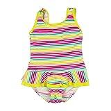 YoungSoul Mädchen Badeanzüge mit Gestreift und Rüschen Schwimmanzug Bademode Gestreift 98