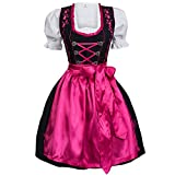 Dirndl Set 3 TLG. Trachtenkleid schwarz mit Stickerei Haken Pink 36