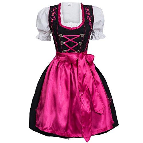 Dirndl Set 3 TLG. Trachtenkleid schwarz mit Stickerei Haken Pink 38