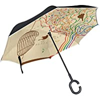TIZORAX Jaula de pájaros en el árbol musical invertido doble capa recto paraguas interior reversible con