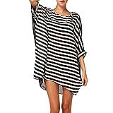L-Peach Donna Copricostumi Parei per Costume da Bagno Nappa Stripes Chiffon per Spiaggia Bikini Cover Up Bianco e Nero