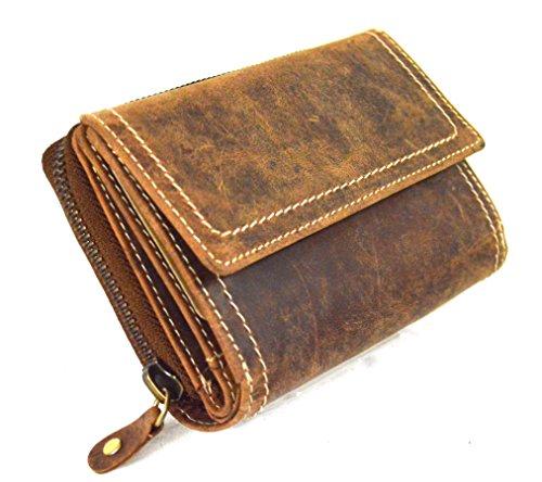 flevado Rustikale Vintage Damen Brieftasche aus Büffelleder Hand Made Design -