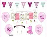 Feste Feiern Kinder-Geburtstagsdeko erster 1 Geburtstag | 8 Teile für Mädchen Deko Set rosa pink | happy birthday kleine Prinzessin