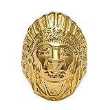 BOBIJOO Jewelry - Chevalière Bague Homme Tête Indien Acier INOX Or Doré Plaqué...