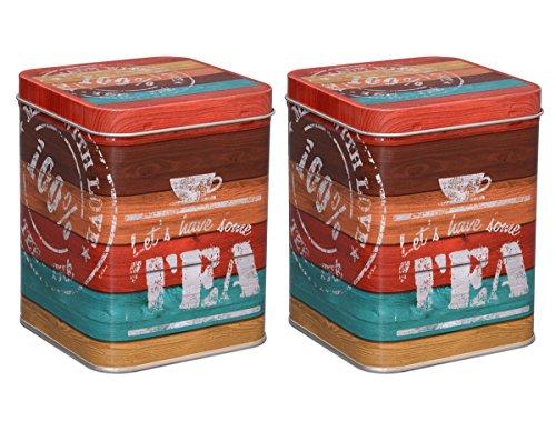 Aricola Teedosen Set/Kaffeedosen Set/Gewürzdosen Set, 2 Stück Vintage Tea je 200g, 88 x 88 x 115mm...