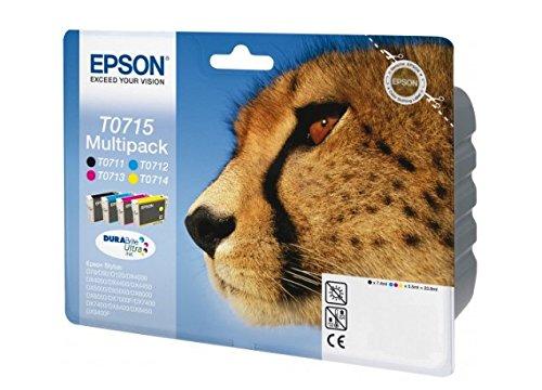 Epson - C13T07154510 - Encre d'origine EPSON Multipack Guépard T0715 : cartouches , Multicolore ( Noir, Cyan, Magenta et Jaune) Amazon Dash Replenishment est prêt