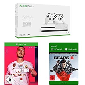 Microsoft Xbox One S 1TB Konsole – Bundle inkl. 2 x Controller + 3 Monate Gamepass + 14 Tage Xbox Live Gold + FIFA 20 + Gears 5