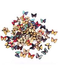 Zeichnung Bunt Schmetterling Holz Buttons für Nähen DIY Handwerk 100 Stück