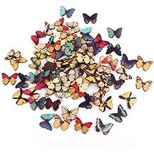 100pcs Botones De Madera Tallada Mariposa De Costura Arte DIY