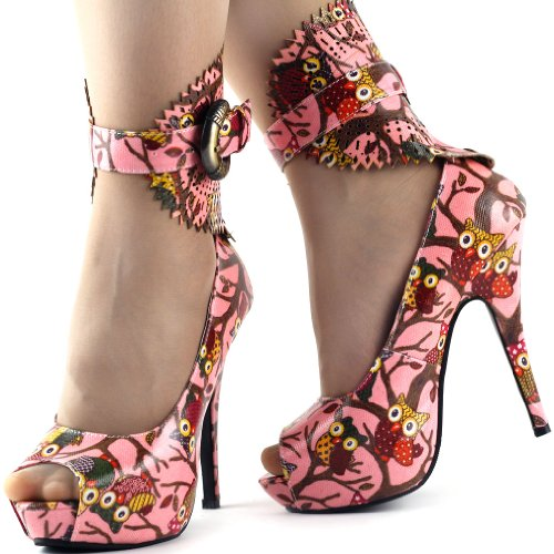 Visualizza Story Multicolore Motivo floreale / Animal Gladiator Platform Pumps, LF30402 Rosa