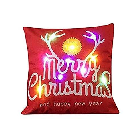 Upxiang Weihnachtsbeleuchtung LED Blinkende Kissenbezug, Kissenbezug Glow In The Dark,