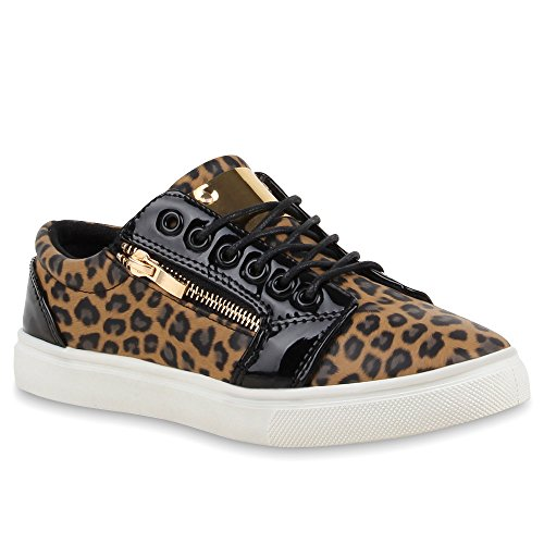 Moderne Damen Sneakers Lack Zipper Sportschuhe Freizeit Schuhe Leopard